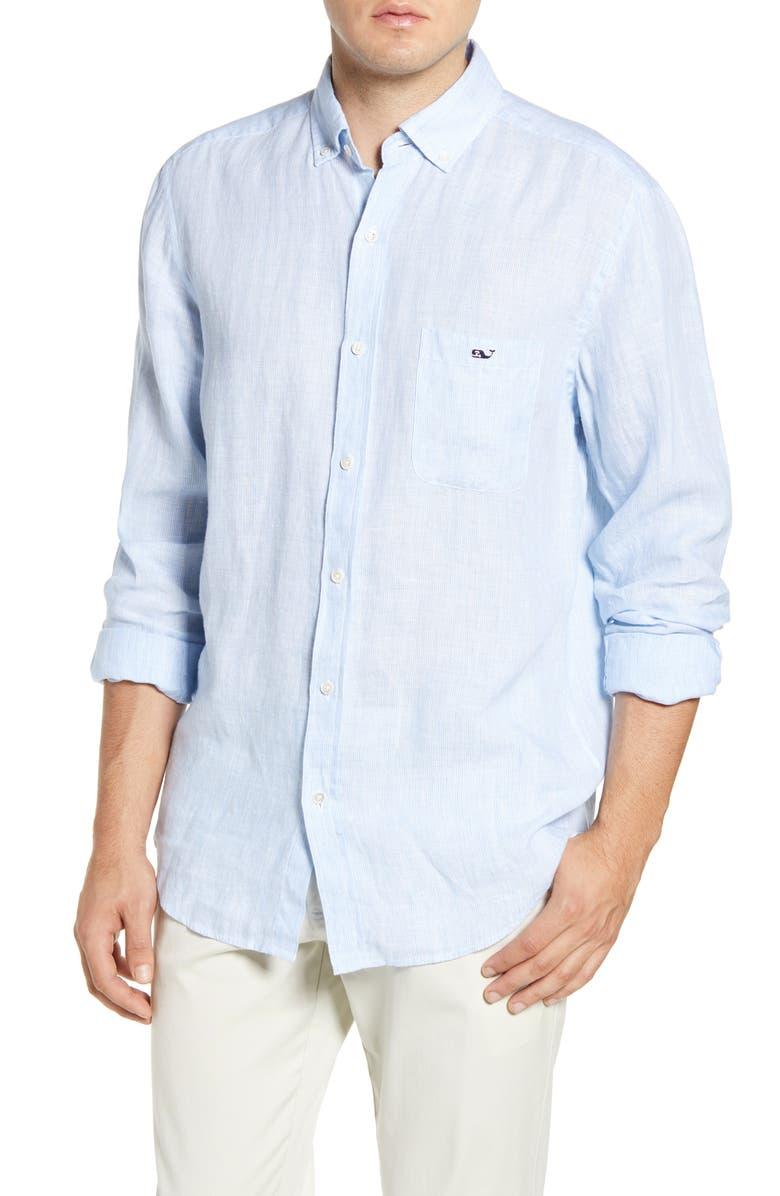 VINEYARD VINES Regular Fit Stripe Linen Button-Down Sport Shirt, Main, color, 456