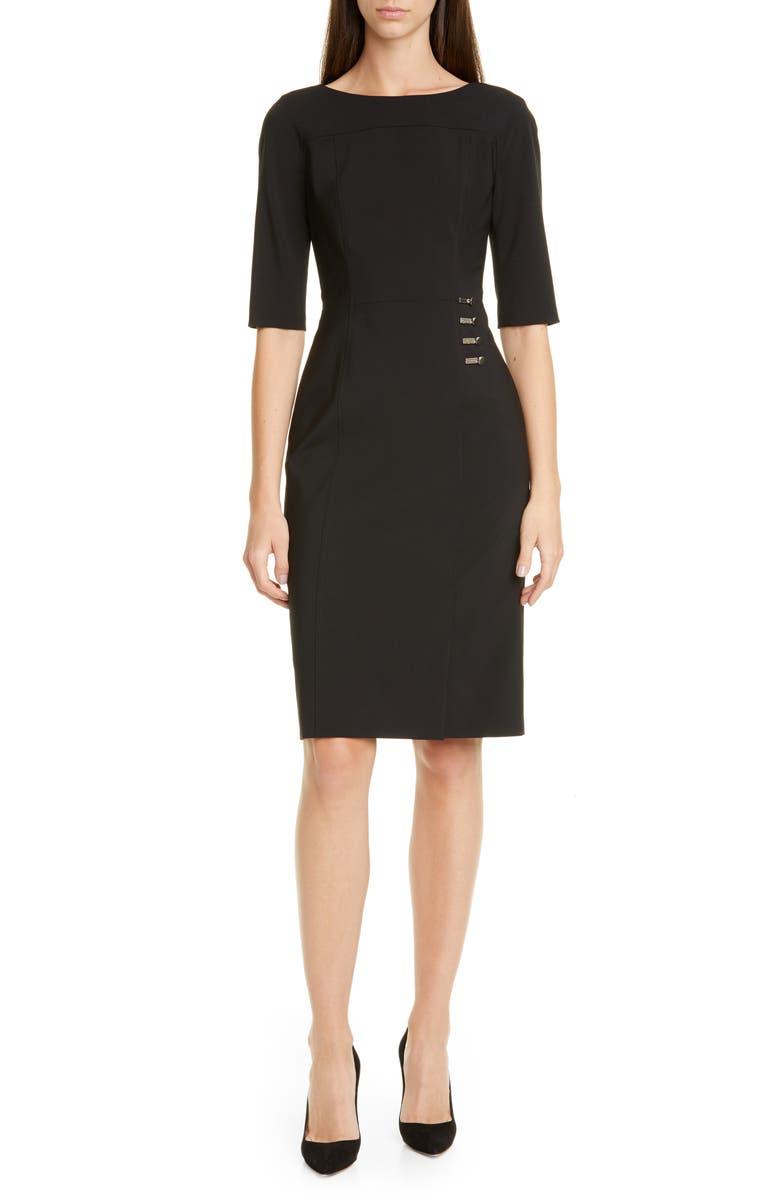 BOSS Disoma Stretch Wool Sheath Dress, Main, color, BLACK