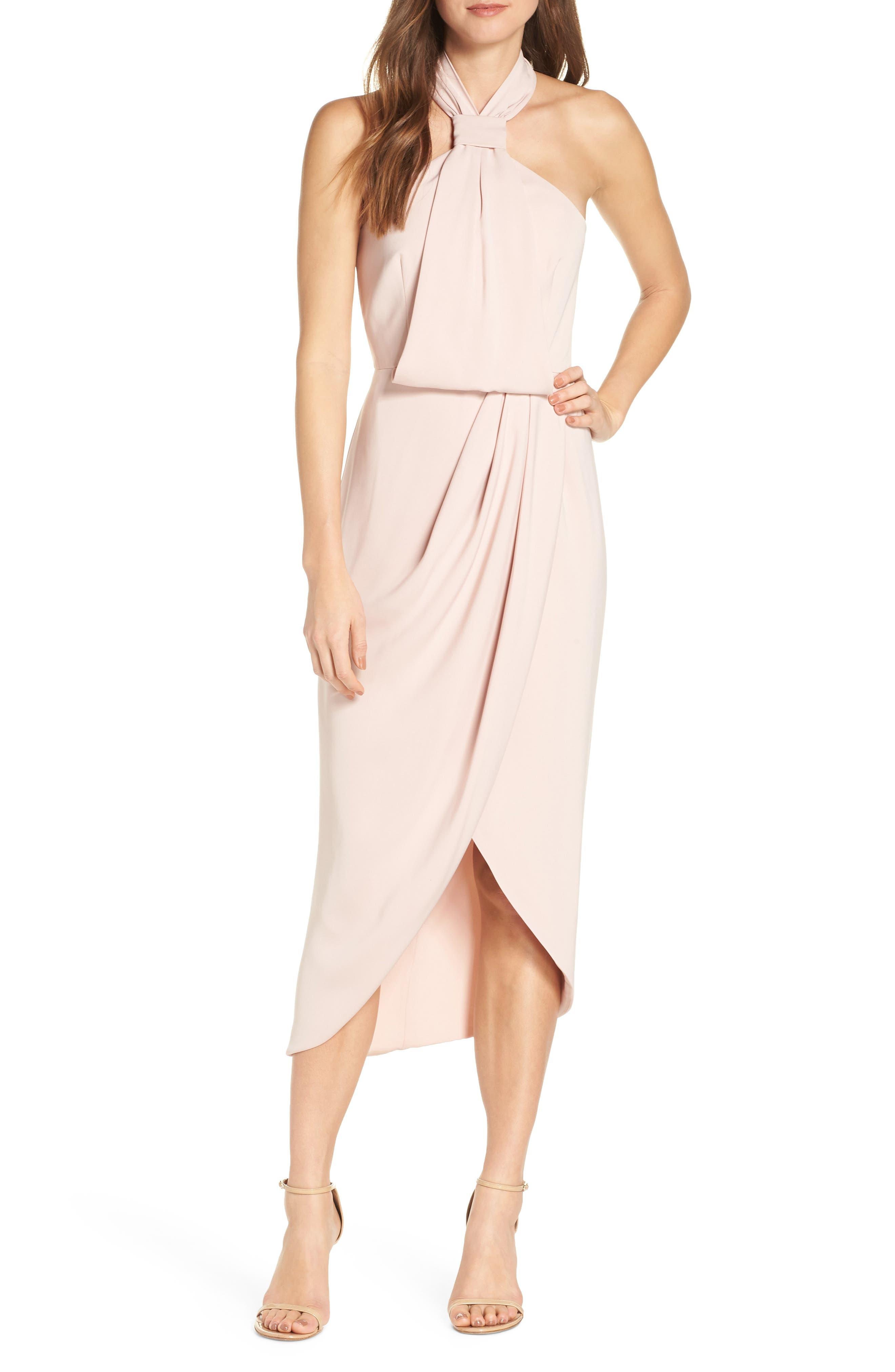Shona Joy Knotted Tulip Hem Midi Dress, Pink