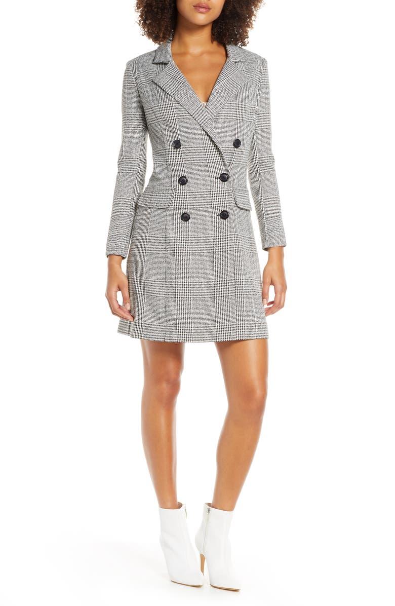 CHELSEA28 Plaid Long Sleeve Blazer Dress, Main, color, 020