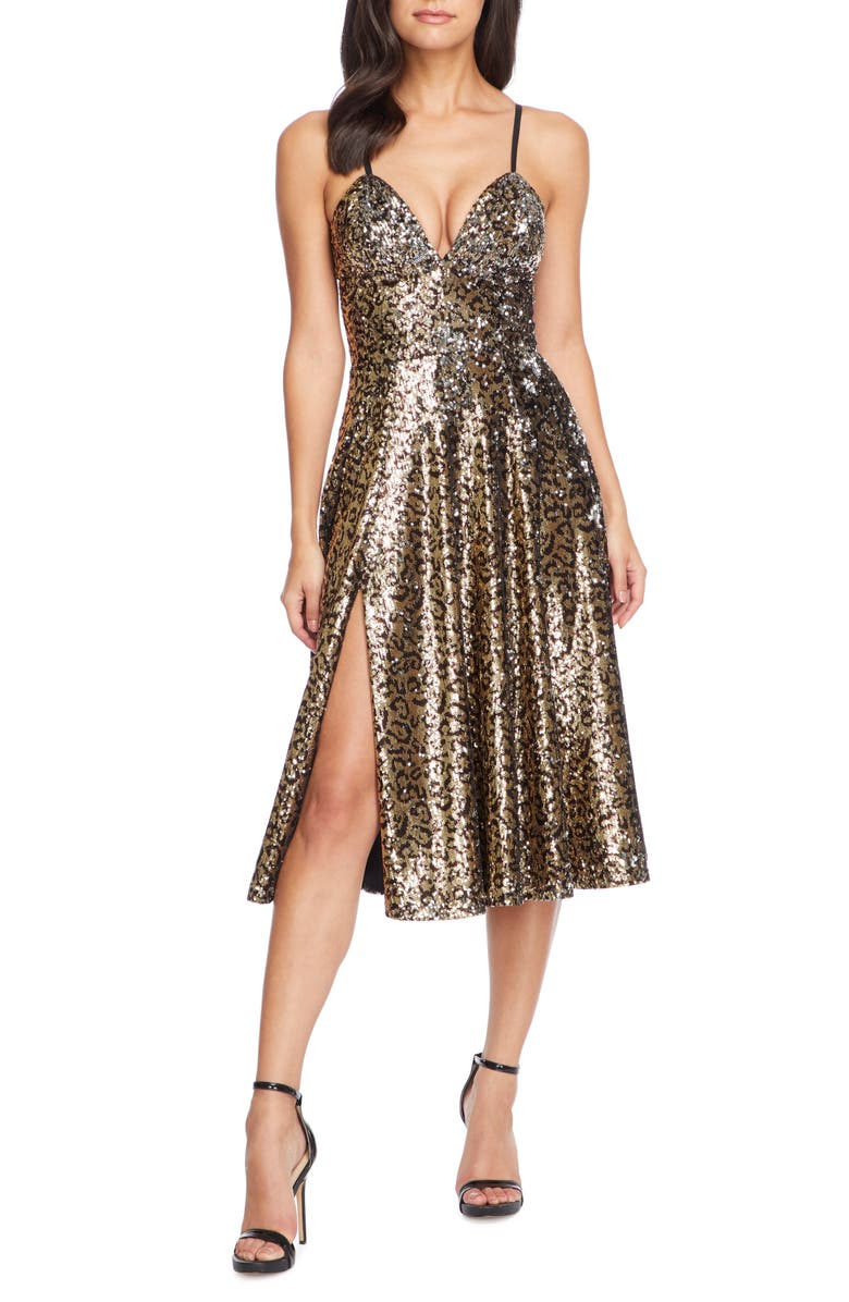 DRESS THE POPULATION Mimi Leopard Sequin Cocktail Dress, Main, color, GOLD LEOPARD MULTI