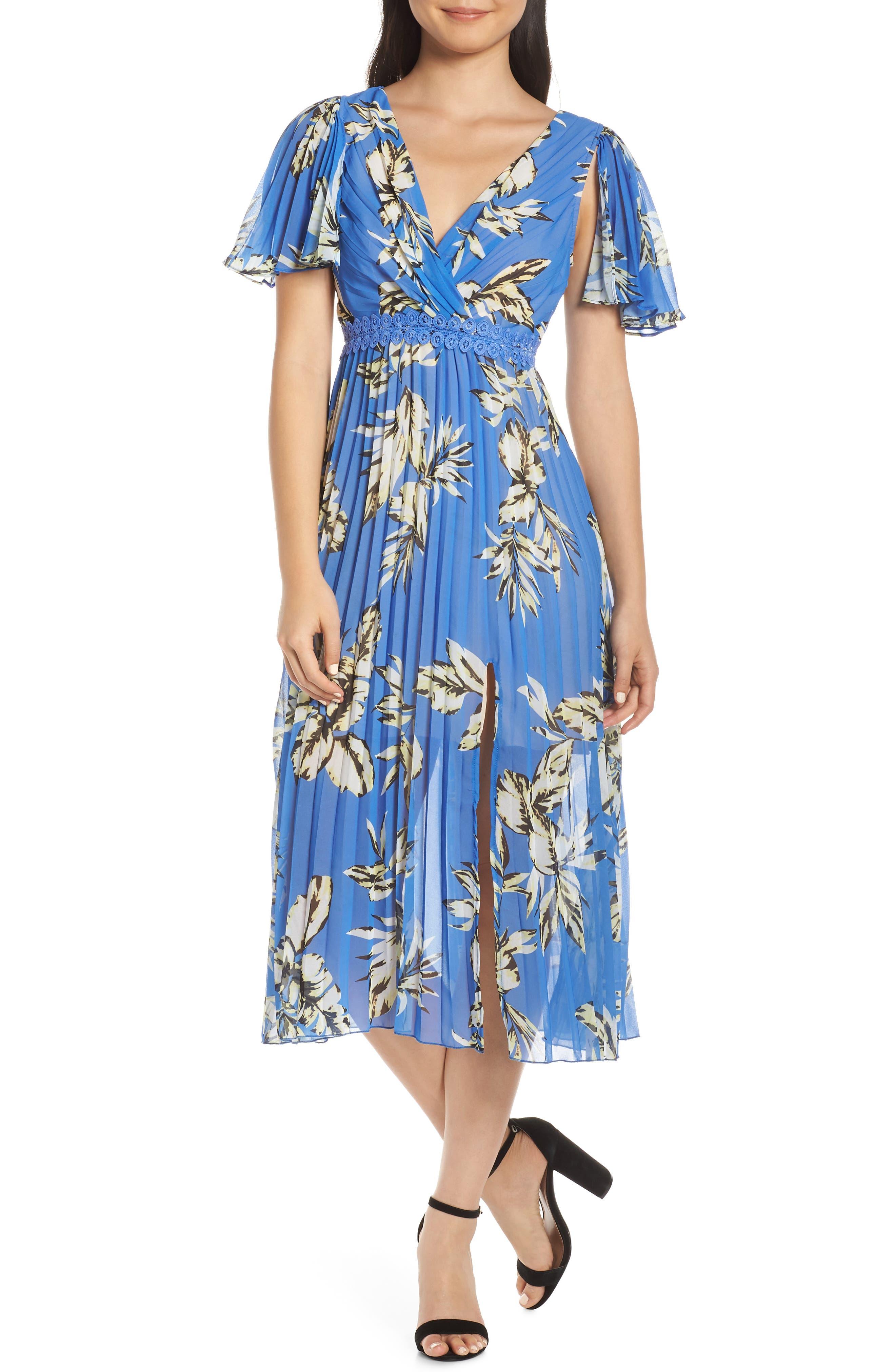 Foxiedox Floral Pleated Midi Dress, Blue