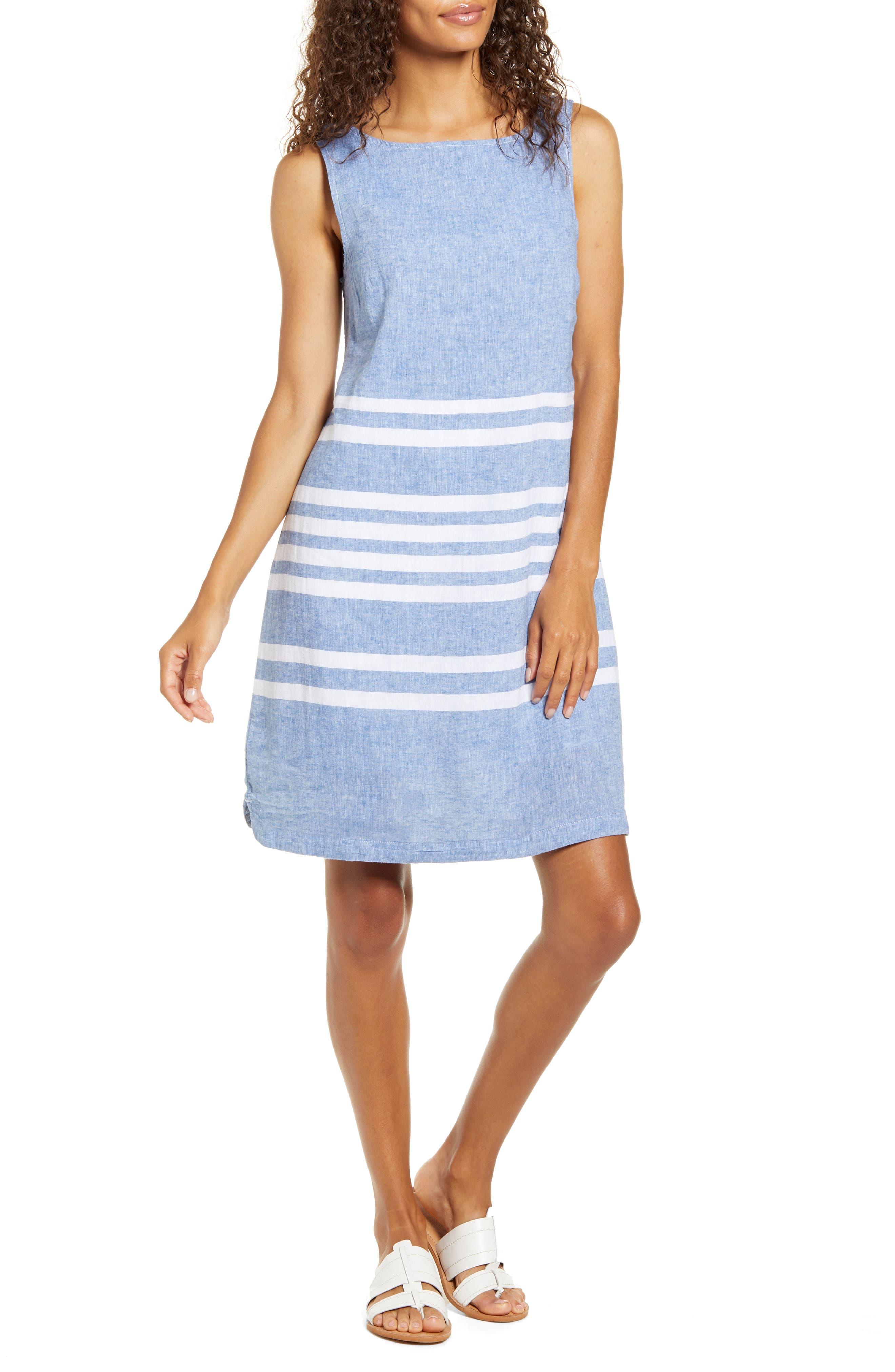 Alina Stripe Linen & Cotton Shift Dress