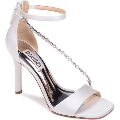 Badgley Mischka Erika Crystal Cross Strap Sandal- White