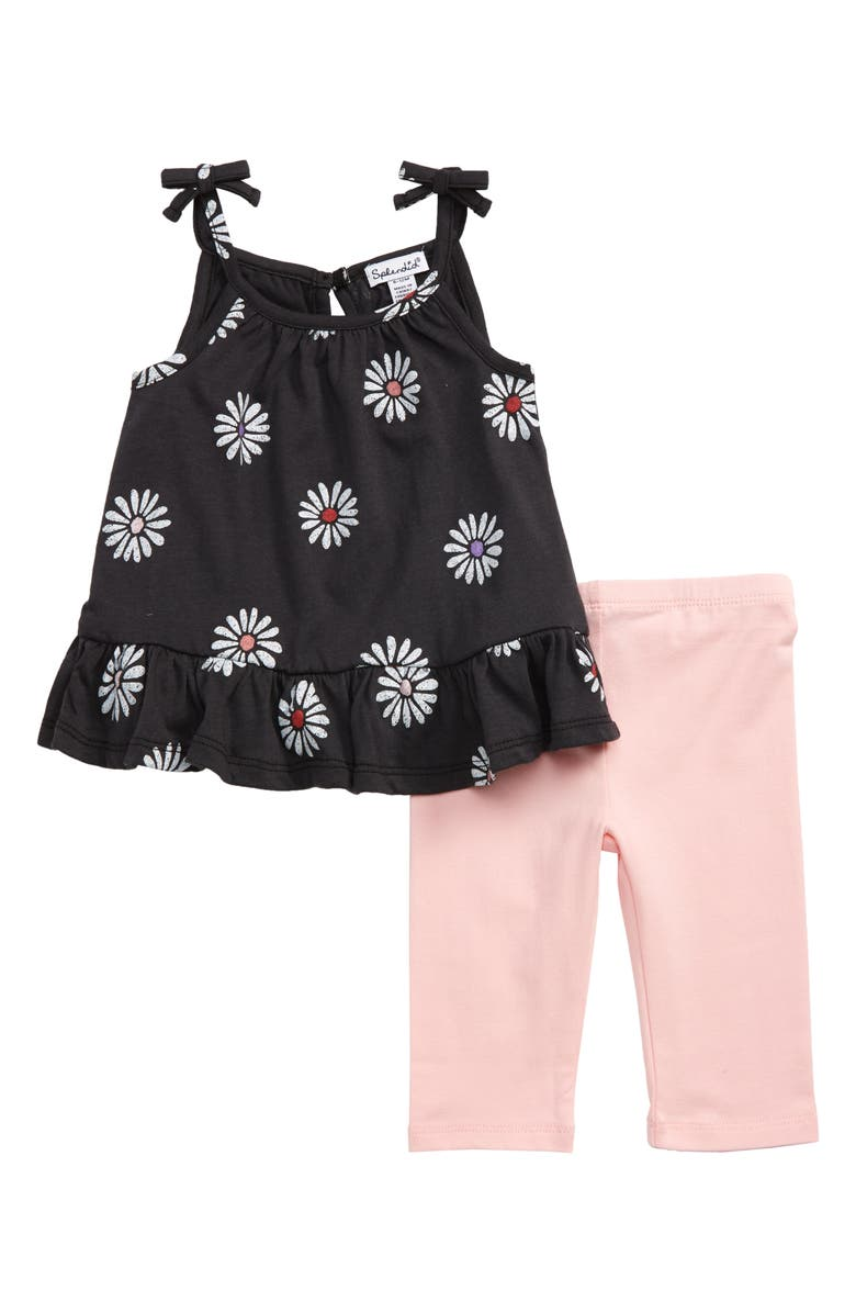 SPLENDID Daisy Print Tank & Leggings Set, Main, color, WASHED BLACK