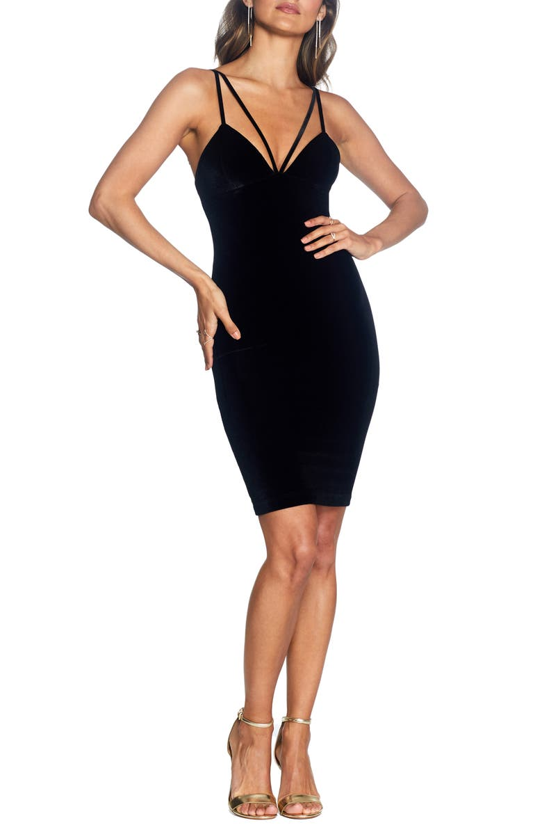COSMOPOLITAN DRESS THE POPULATION Vickie Strappy Velvet Dress, Main, color, 001