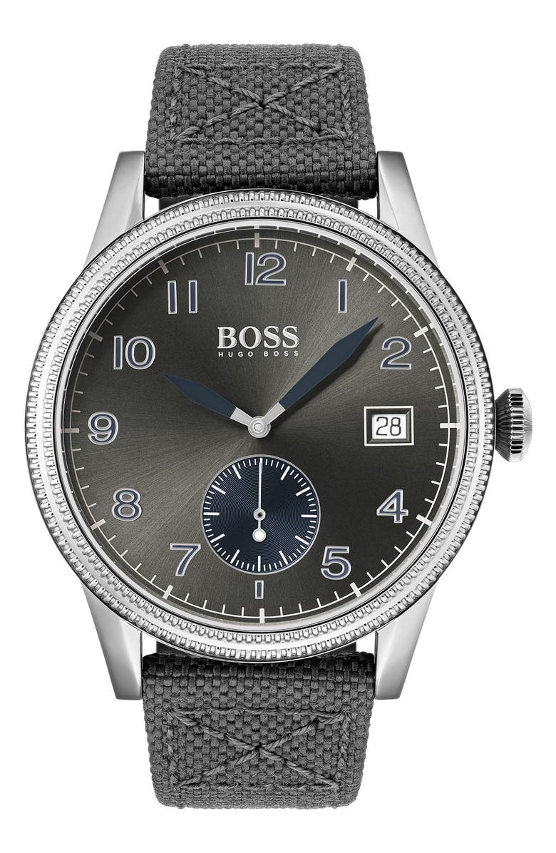 BOSS Legacy Textile Strap Watch, 44mm, Main, color, 020