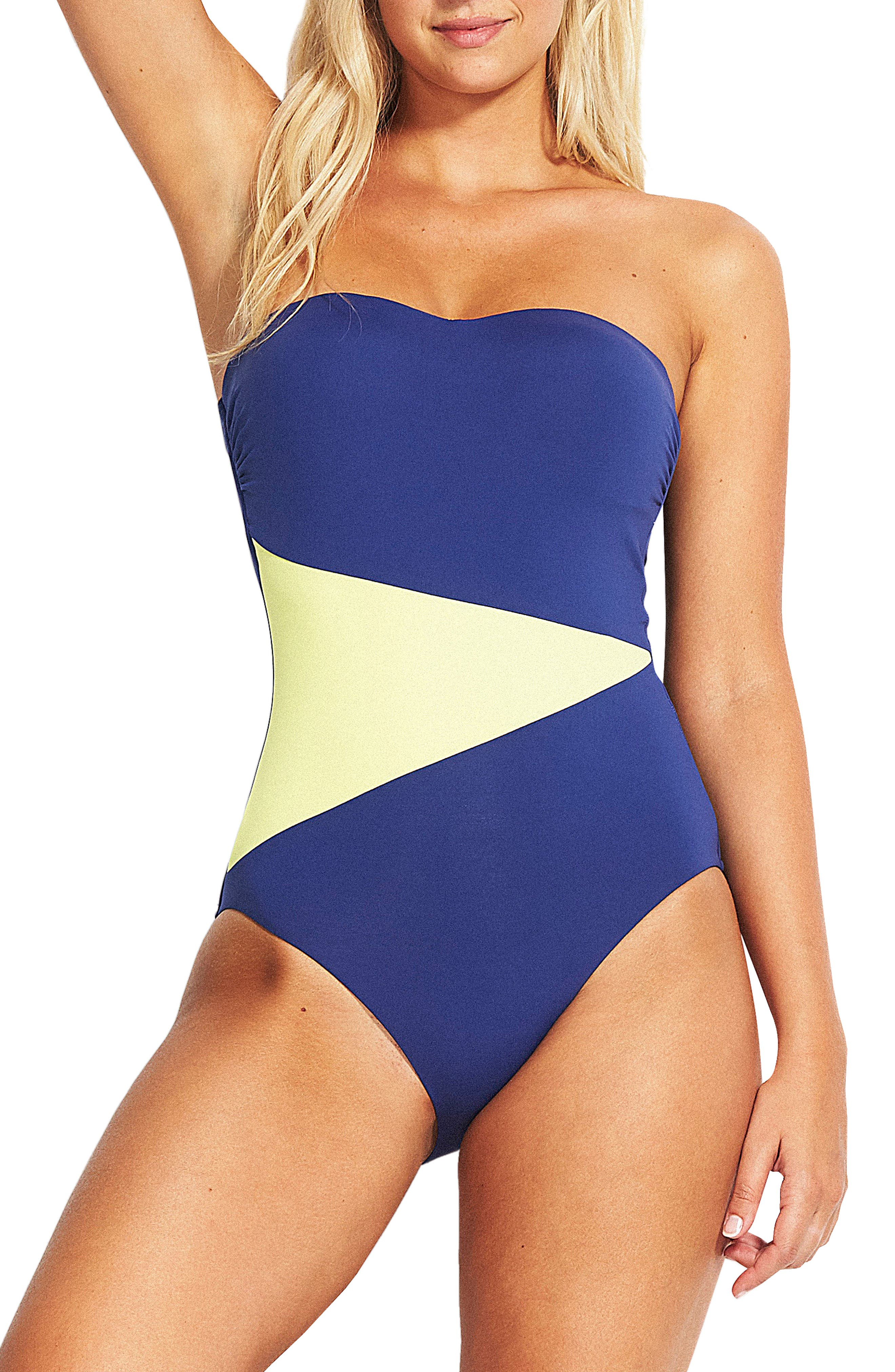Seafolly In The Loop Bandeau One-Piece Swimsuit, US / 10 AU - Blue