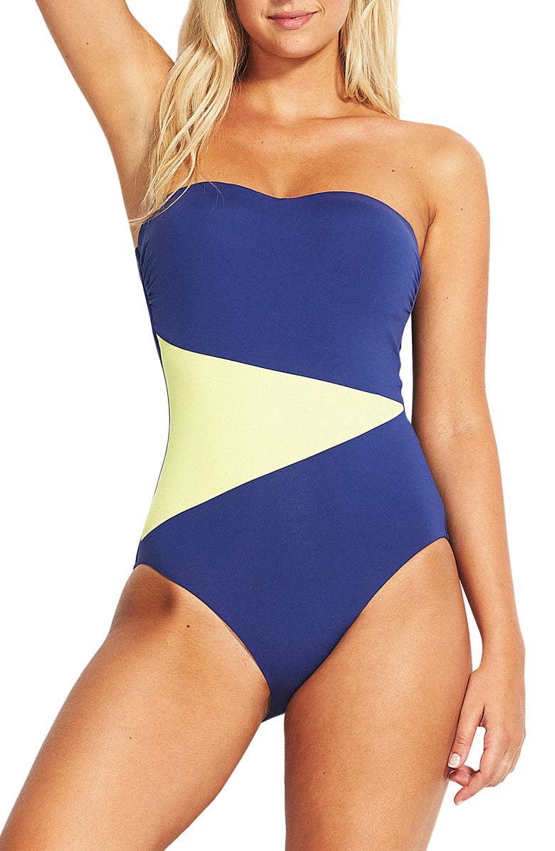 SEAFOLLY In the Loop Bandeau One-Piece Swimsuit, Main, color, BLUE OPAL