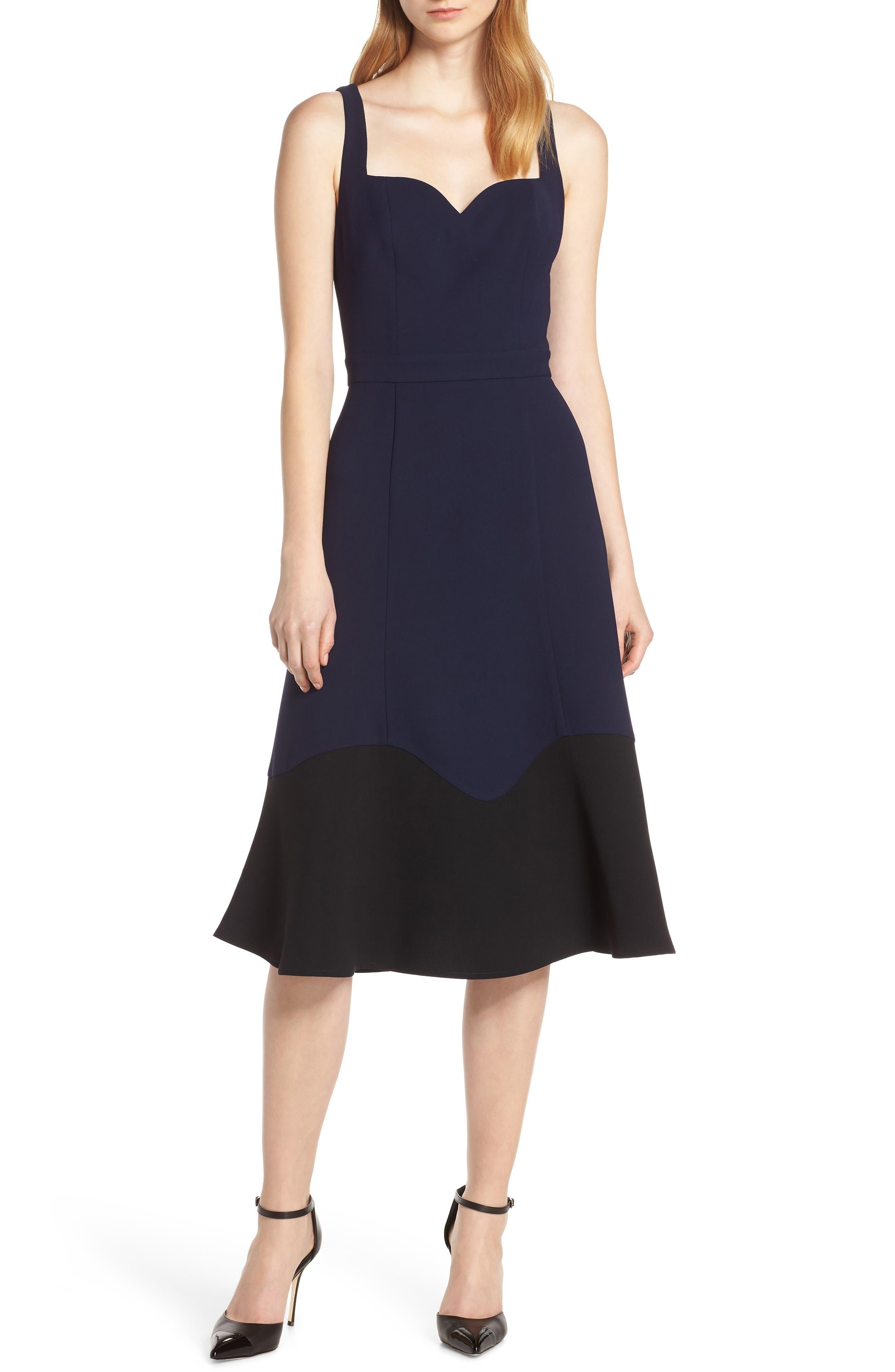 Harlyn Colorblock Hem Cocktail Dress, Blue