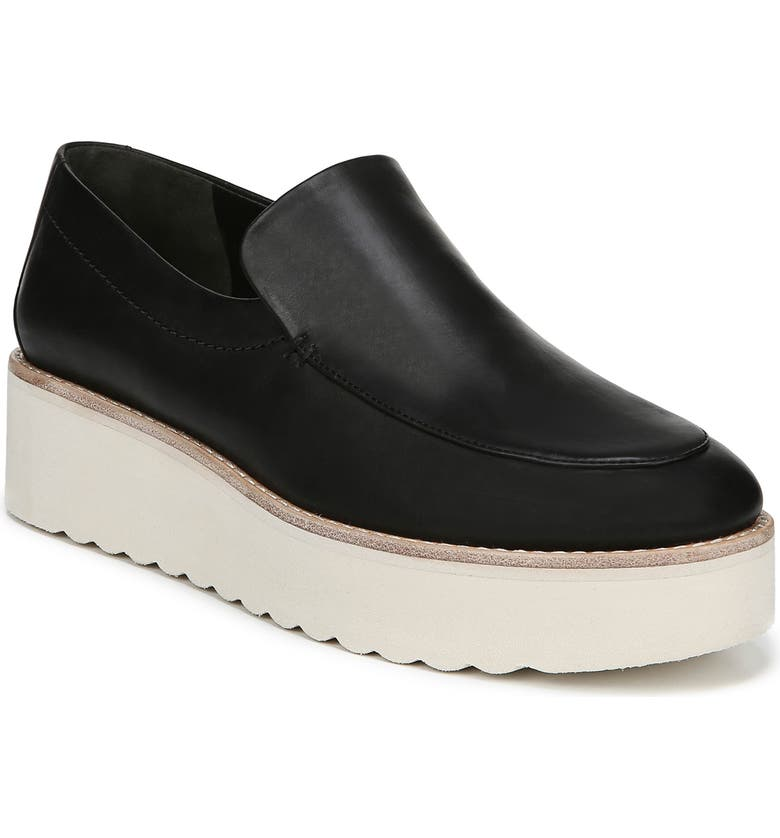 VINCE Zeta Platform Loafer, Main, color, BLACK FOULARD LEATHER