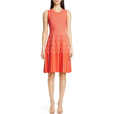 Lela Rose Geometric Pleat Sweater Dress, Coral
