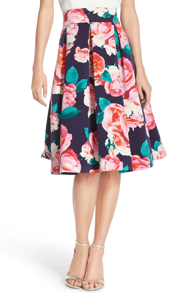 ELIZA J Floral Print Faille Skirt, Main, color, 660