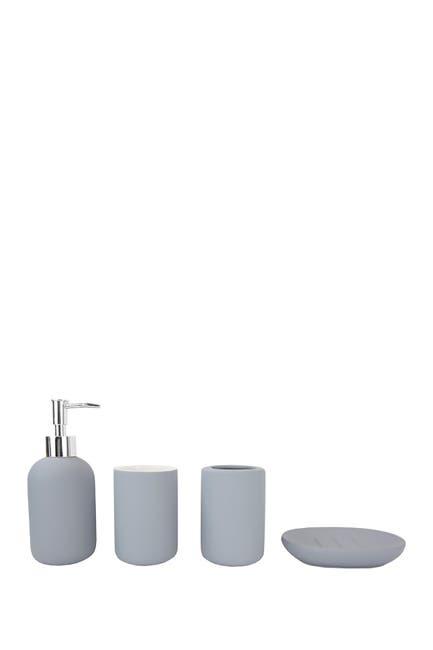 Image of HOME BASICS 4-Piece Rubberized Ceramic Bath Accessory Set - Grey