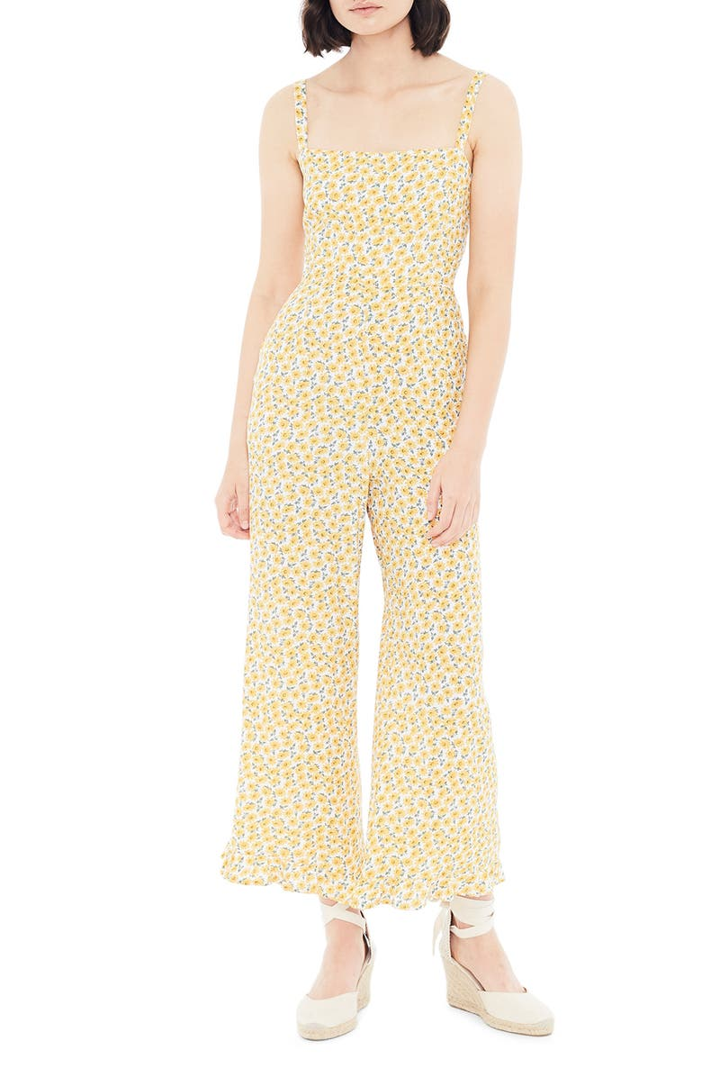 FAITHFULL THE BRAND Frankie Floral Frill Hem Wide Leg Jumpsuit, Main, color, 702