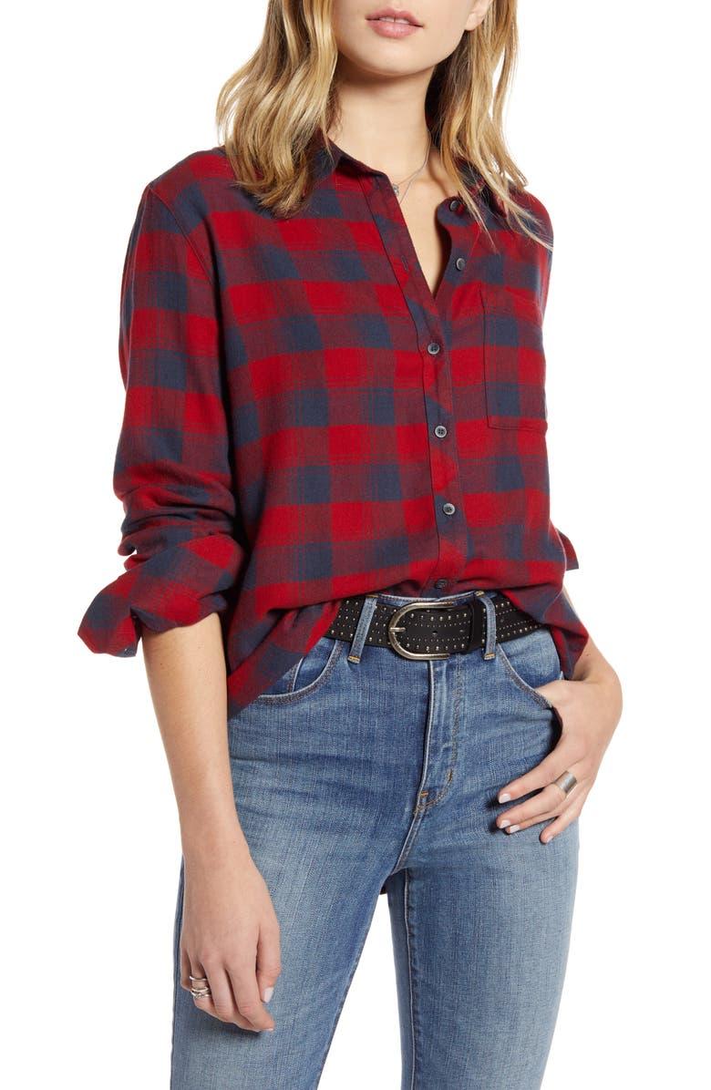 TREASURE & BOND Plaid Boyfriend Shirt, Main, color, NAVY RED CHECK
