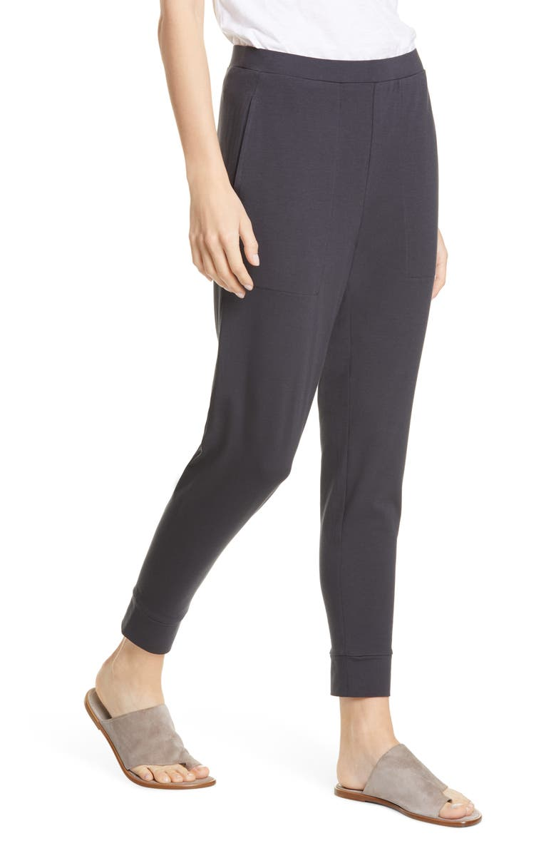 EILEEN FISHER Tapered Ankle Stretch Organic Cotton Pants, Main, color, 021