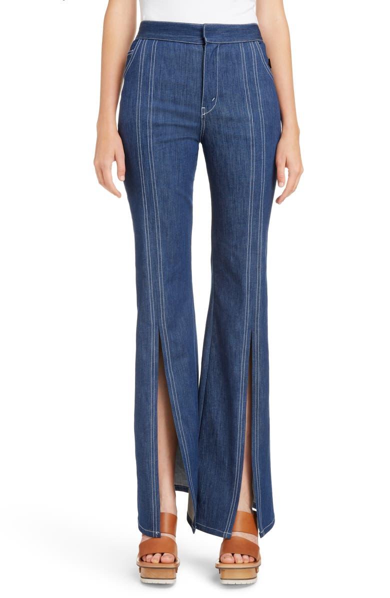 440f71a4cf Chloé Contrast Stitch Split Hem Flare Jeans | Nordstrom