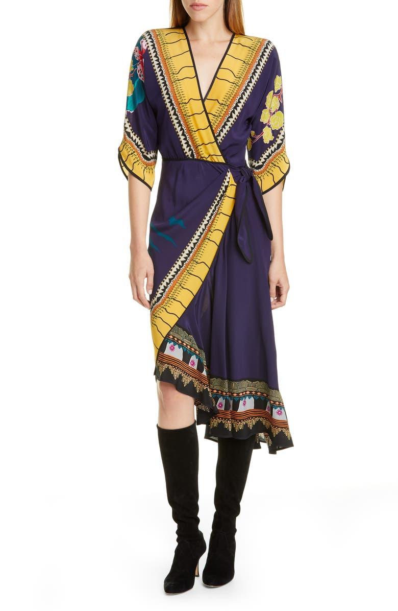 ETRO Print Faux Wrap Silk Dress, Main, color, NAVY