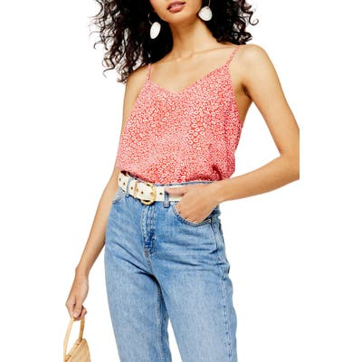 Topshop Animal Print Camisole, US (fits like 0) - Red