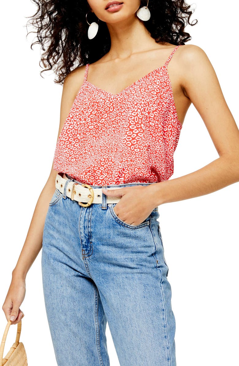 TOPSHOP Animal Print Camisole, Main, color, RED MULTI