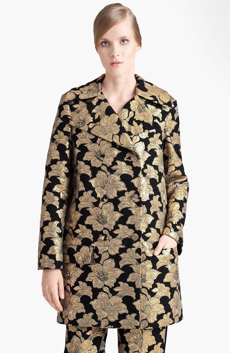 MARNI Double Breasted Brocade Coat, Main, color, 005