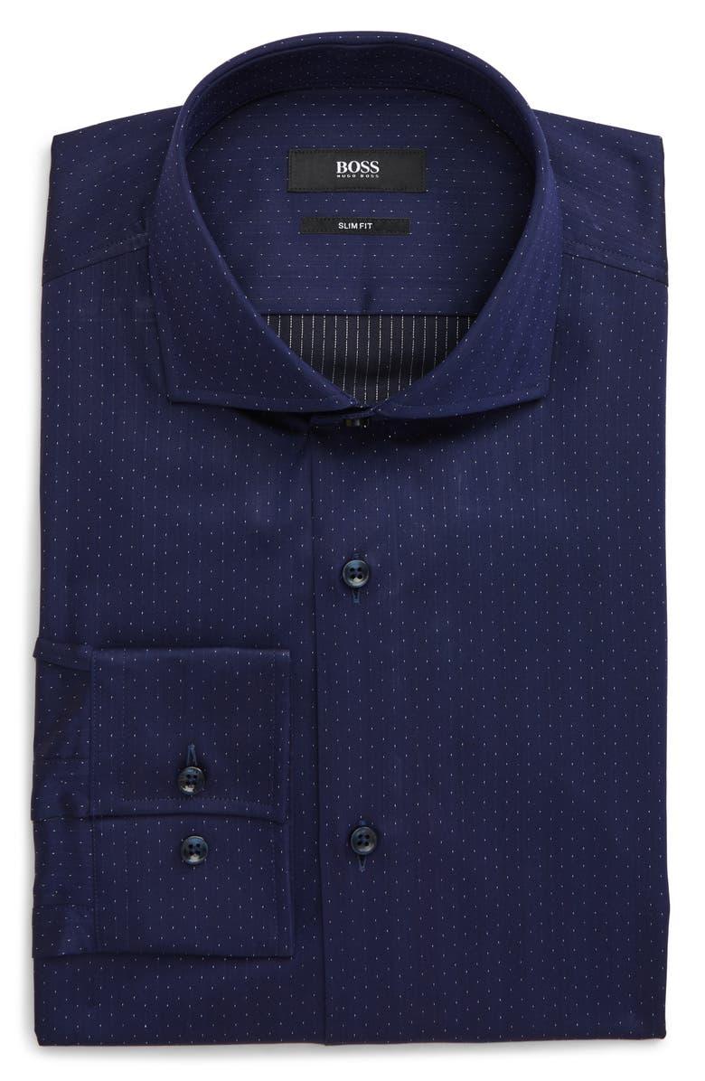 BOSS Jason Slim Fit Dot Dress Shirt, Main, color, 417