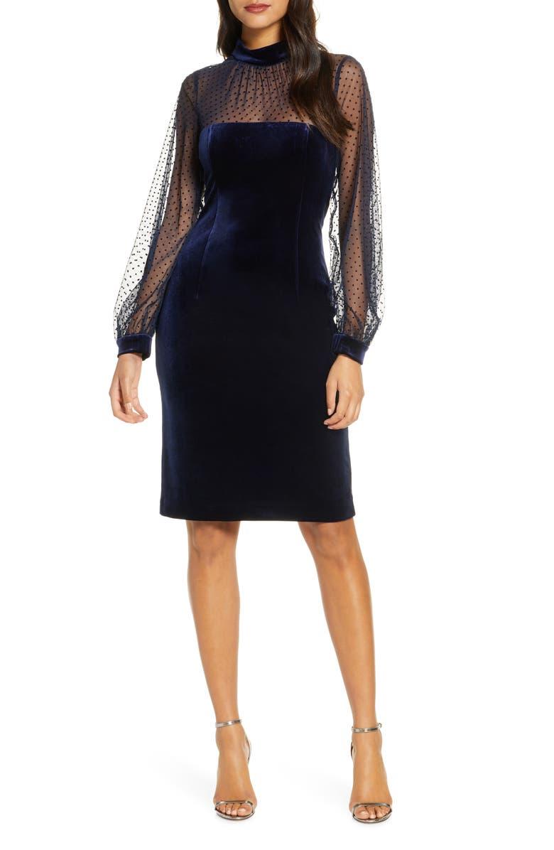 ELIZA J Illusion Bodice Velvet Party Dress, Main, color, 410