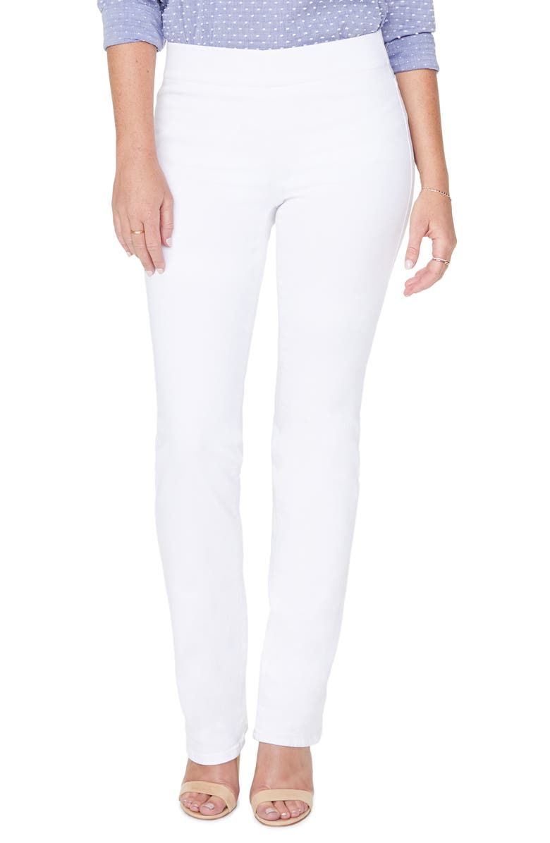 NYDJ Pull-On Straight Leg Jeans, Main, color, OPTIC WHITE