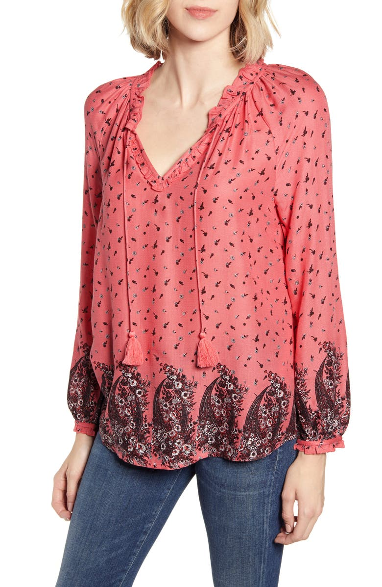LUCKY BRAND Giselle Ruffle Detail Peasant Blouse, Main, color, PINK MULTI