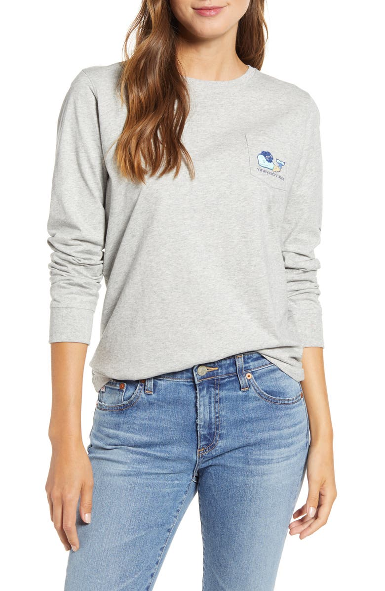 VINEYARD VINES Zombie Whale Long Sleeve Pocket Tee, Main, color, 050