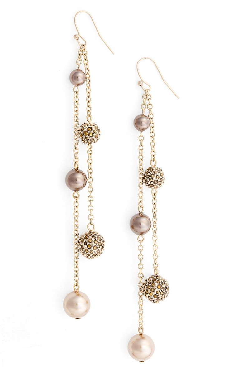 ST. JOHN COLLECTION Swarovski Crystal & Glass Pearl Pavé Drop Earrings, Main, color, 220