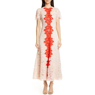 Lela Rose Flutter Sleeve Contrast Lace Maxi Dress, Pink