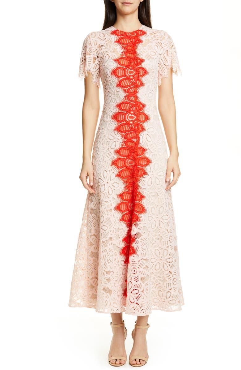 LELA ROSE Flutter Sleeve Contrast Lace Maxi Dress, Main, color, MULTI