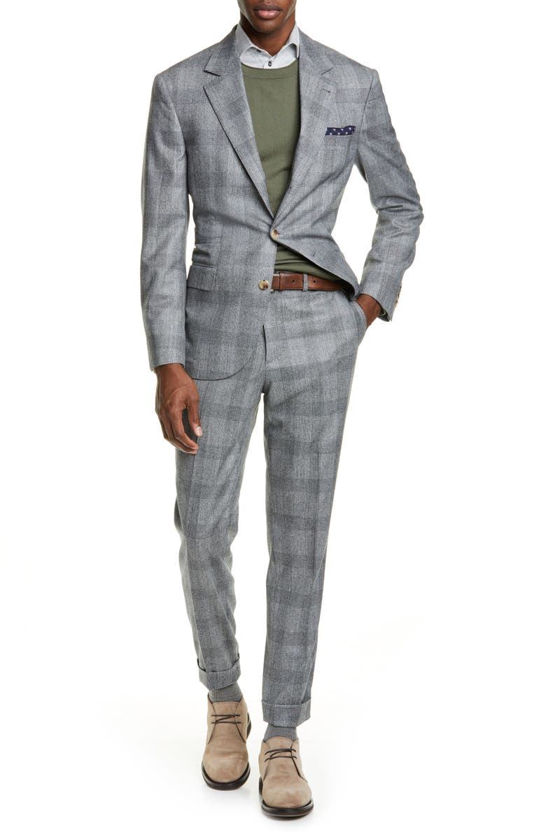 BRUNELLO CUCINELLI Glen Plaid Wool Suit, Main, color, MEDIUM GREY