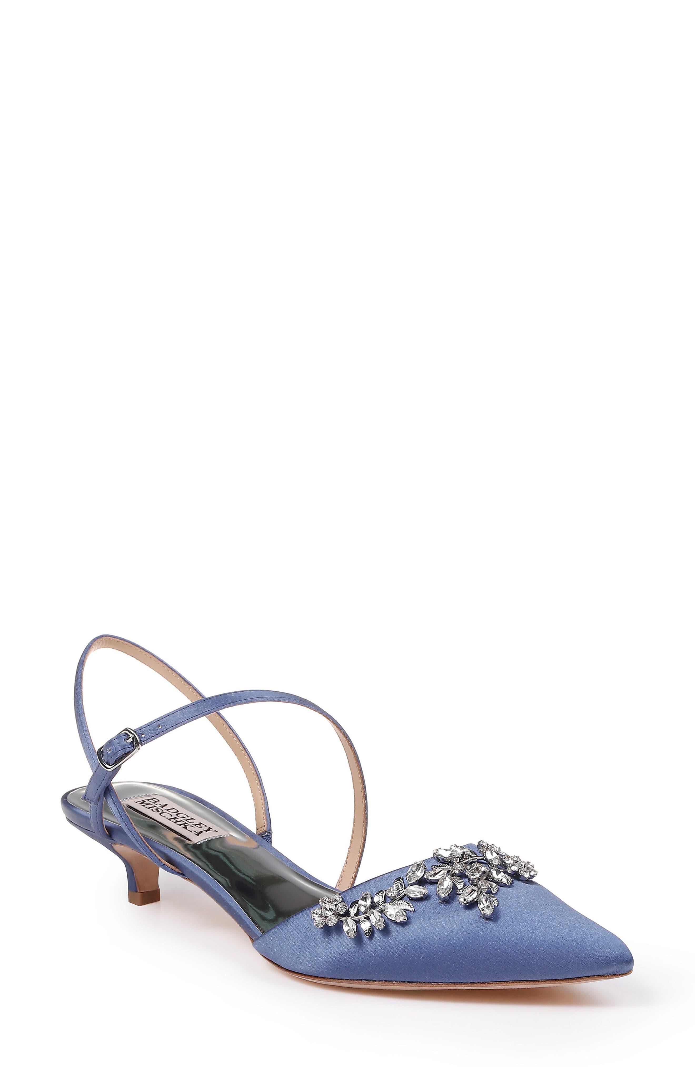 Badgley Mischka Crystal Embellished Quarter Strap Pump, Main, color, ITALIAN BLUE SATIN