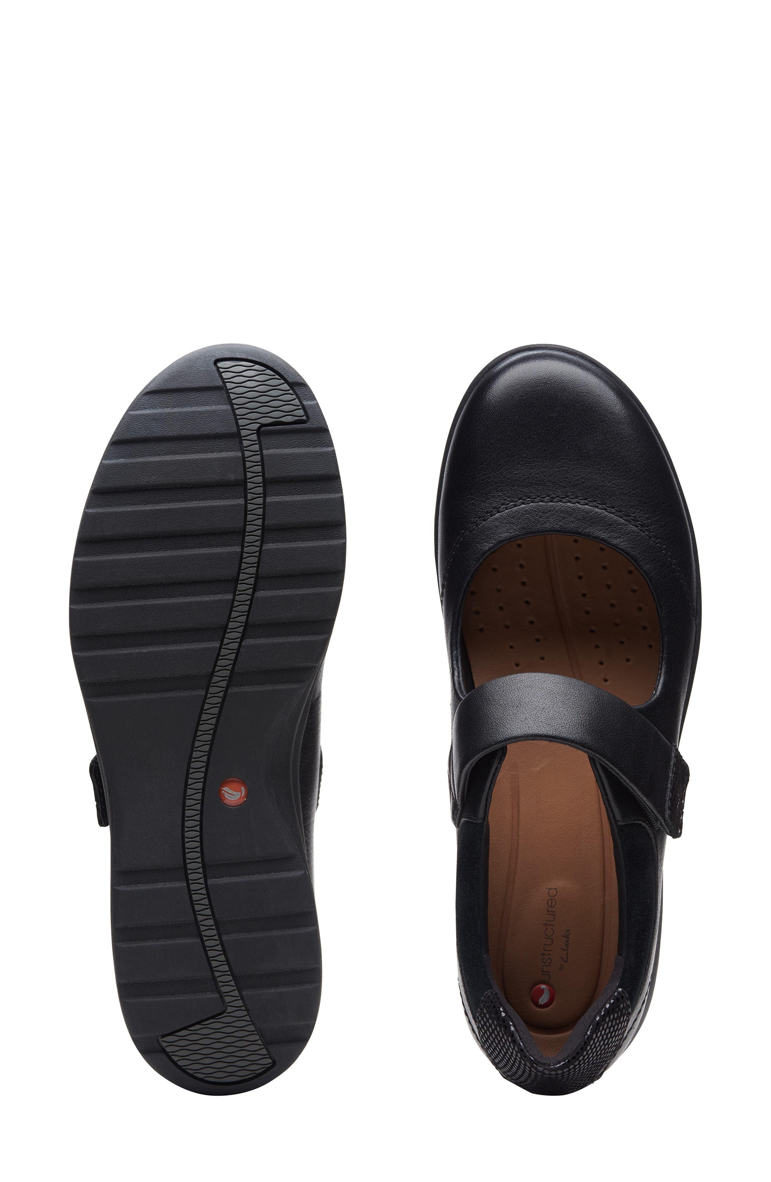 ,                             Un Adorn Mary Jane Flat,                             Alternate thumbnail 6, color,                             BLACK LEATHER/ SUEDE COMBI