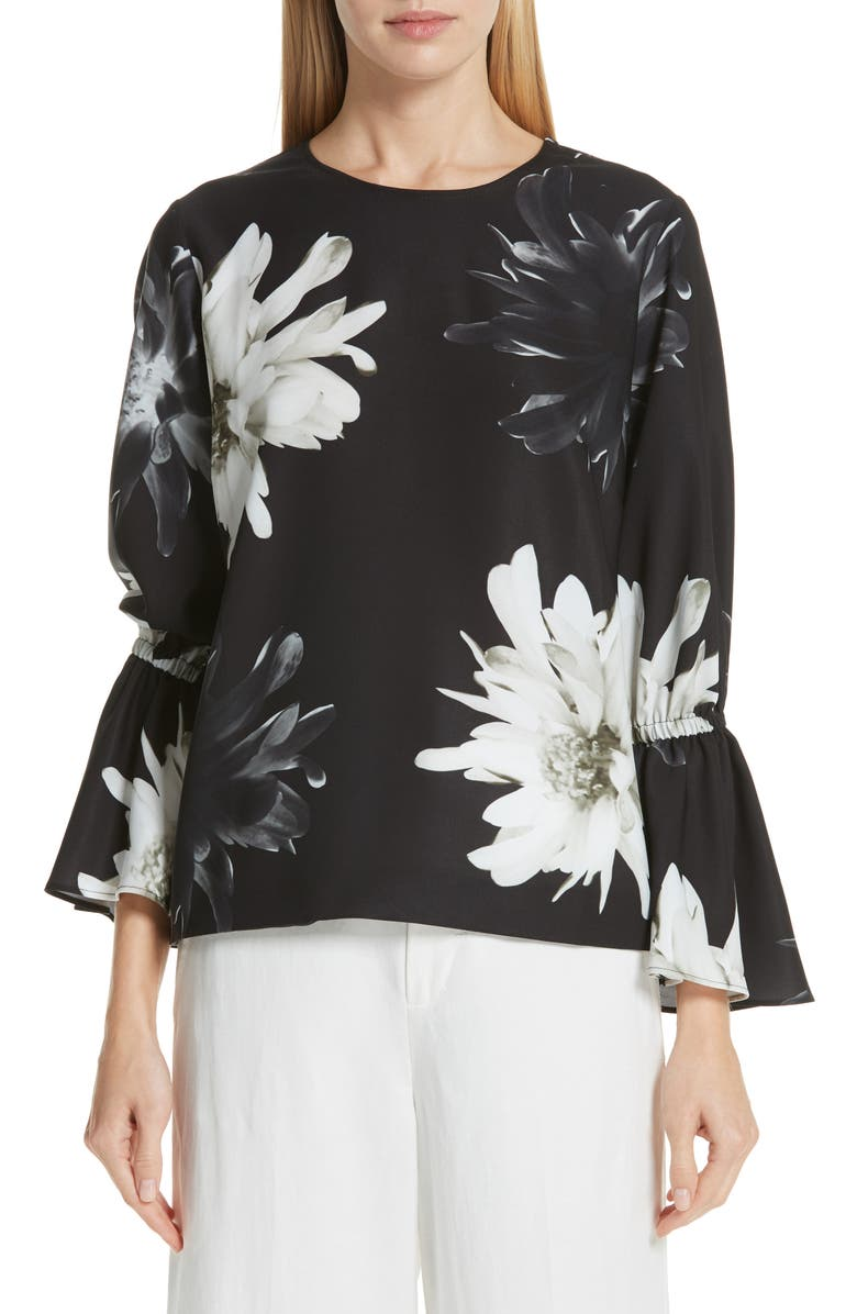 FUZZI Floral Bell Sleeve Top, Main, color, 001
