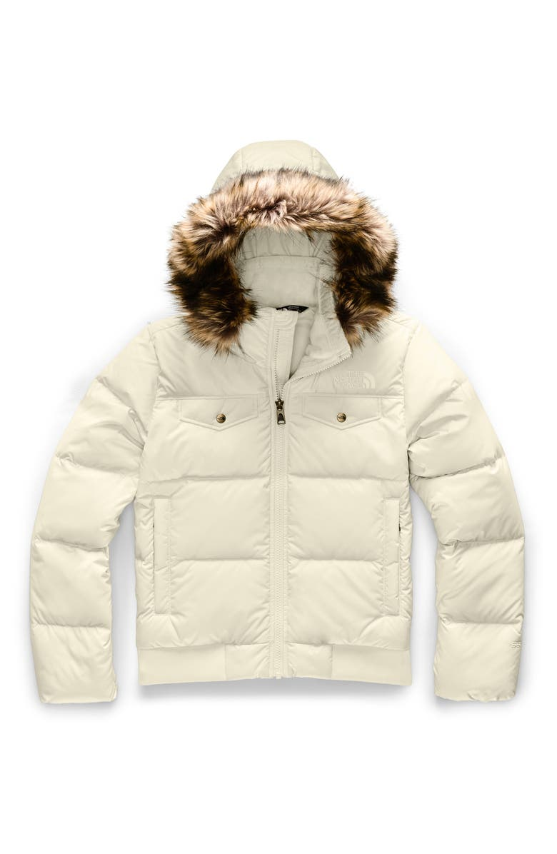 THE NORTH FACE Gotham Water Resistant 550 Fill Power Down Jacket with Faux Fur Trim, Main, color, VINTAGE WHITE