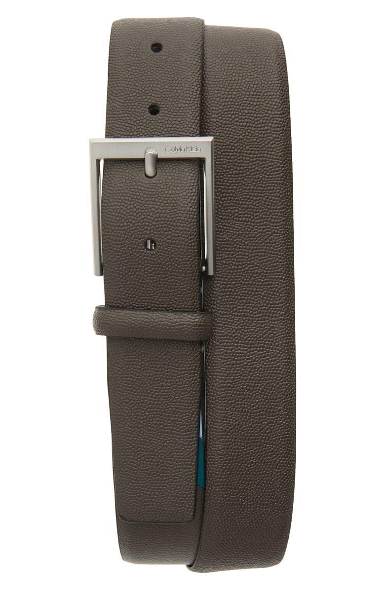 CALVIN KLEIN Pebbled Faux Leather Belt, Main, color, DARK UTILITY