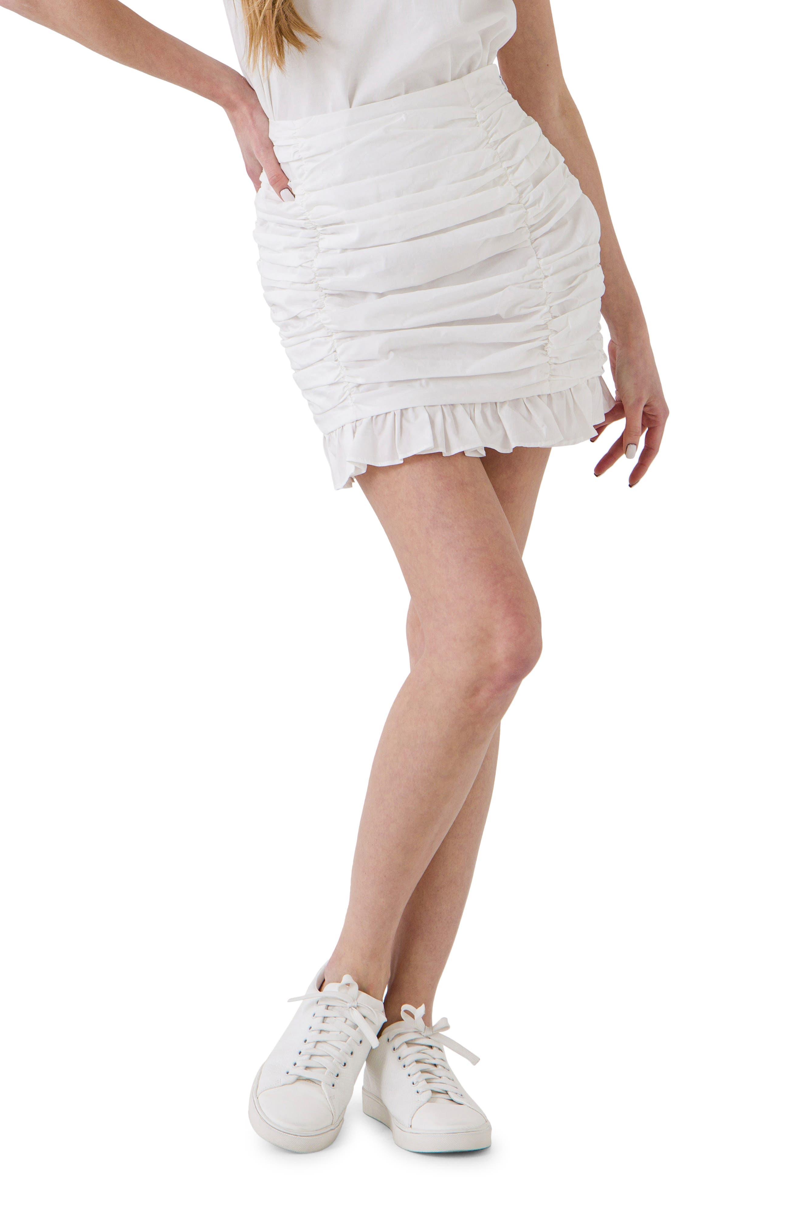 Shirred Miniskirt