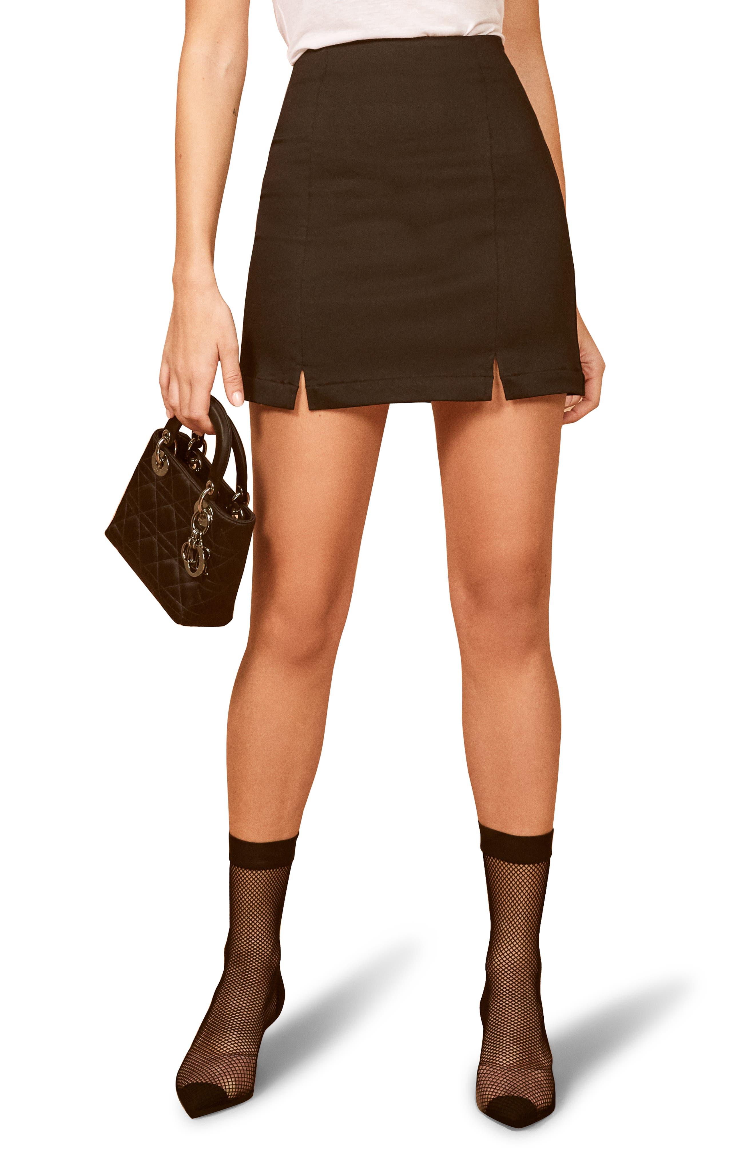 Reformation Oak Miniskirt, Black