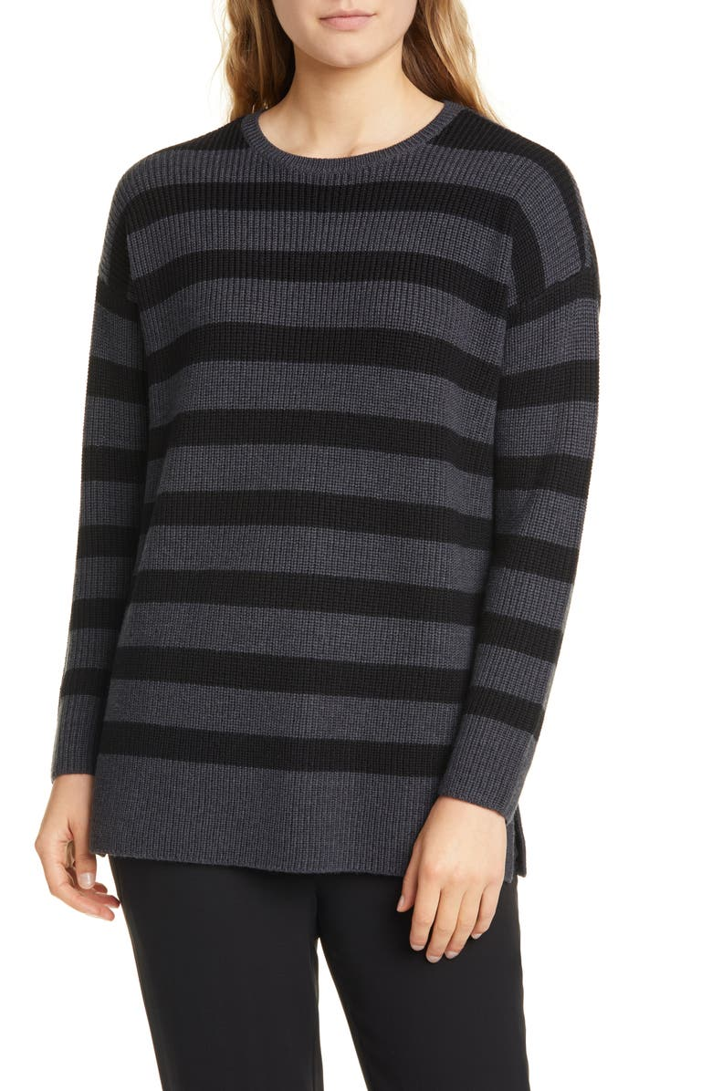 EILEEN FISHER Stripe Merino Wool Sweater, Main, color, CHARCOAL/ BLACK