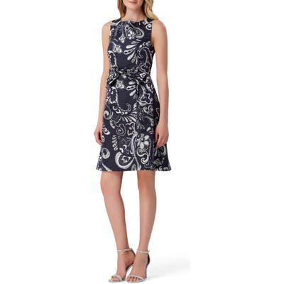 Tahari Metallic Jacquard Fit & Flare Dress, Blue