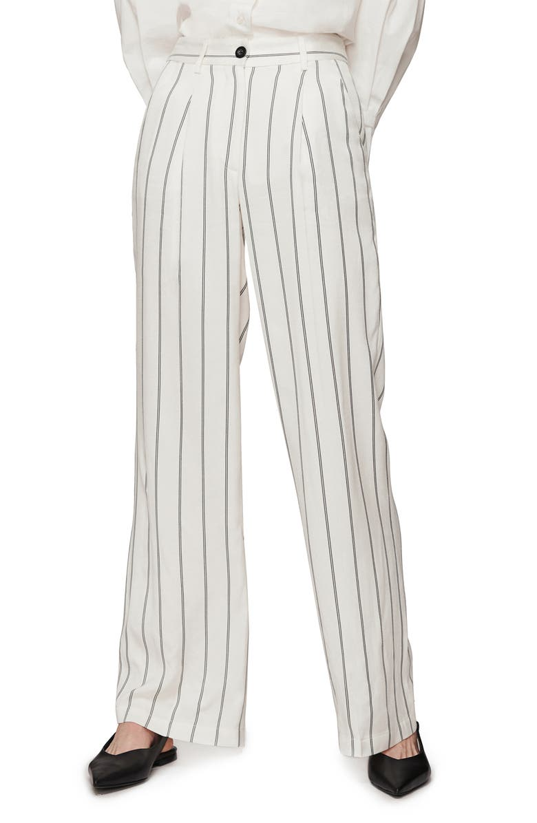 ANINE BING Ryan Stripe Trousers, Main, color, 100