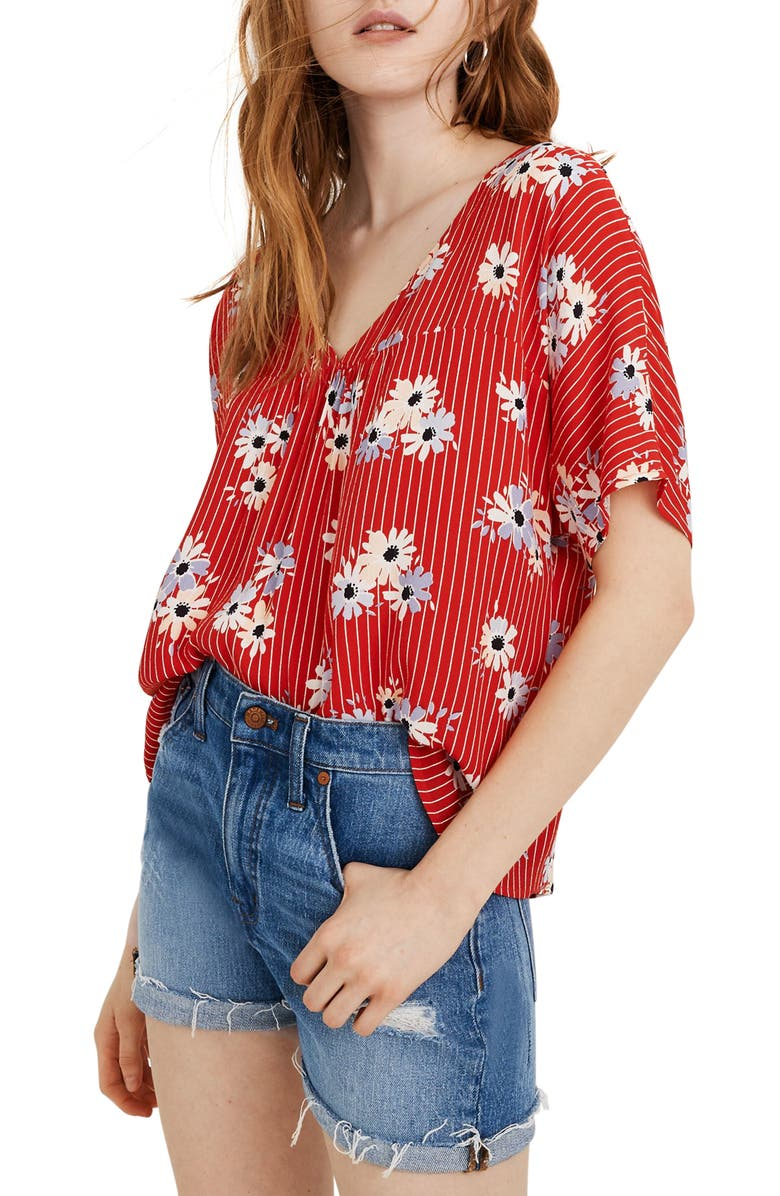 MADEWELL Daisy Society Rhyme Top, Main, color, RETRO STRIPE LIPSTICK RED