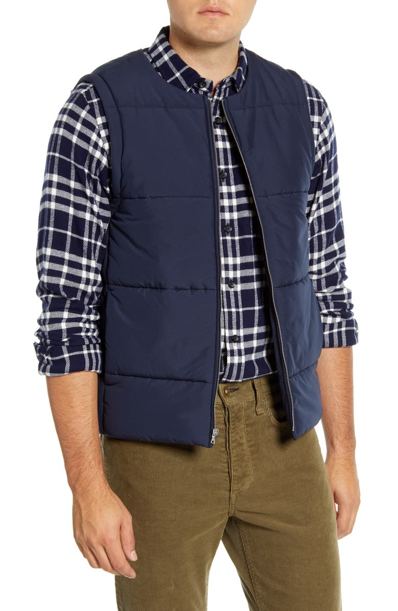 ALEX MILL Cortina Puffer Vest, Main, color, NAVY