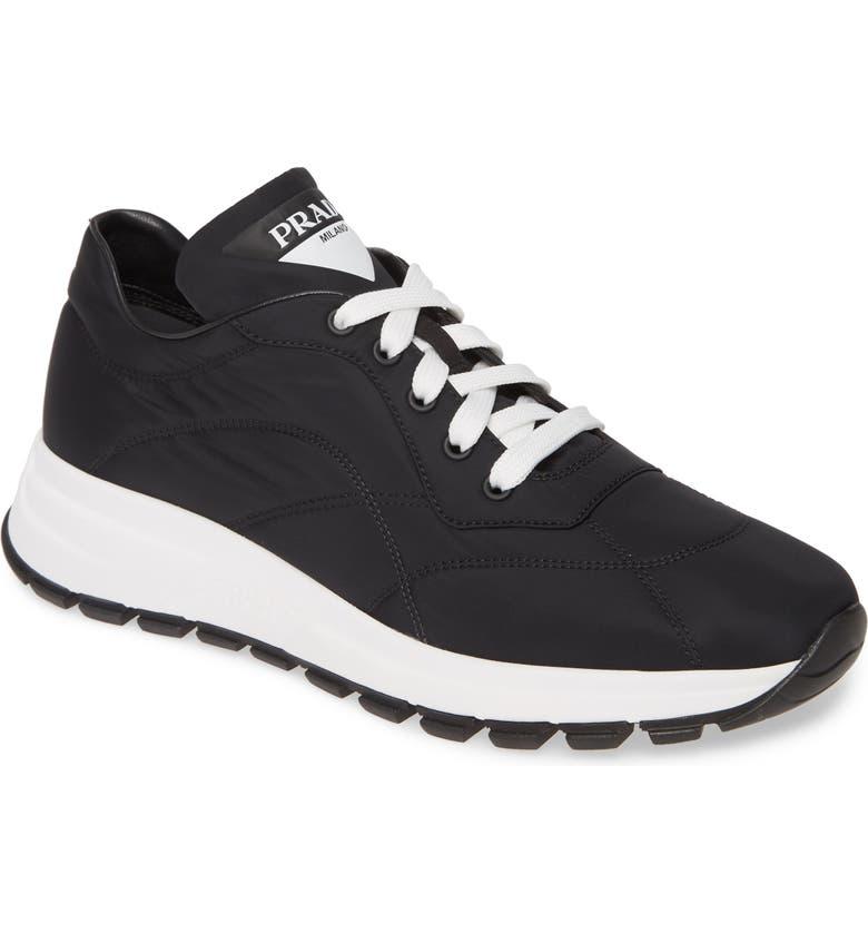 PRADA Nylon Trainer Sneaker, Main, color, BLACK NYLON