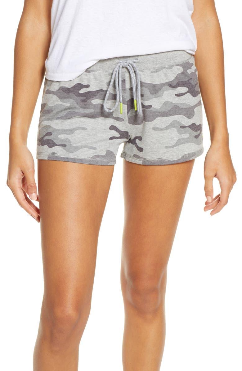 PJ SALVAGE Neon Pop Lounge Shorts, Main, color, GREY