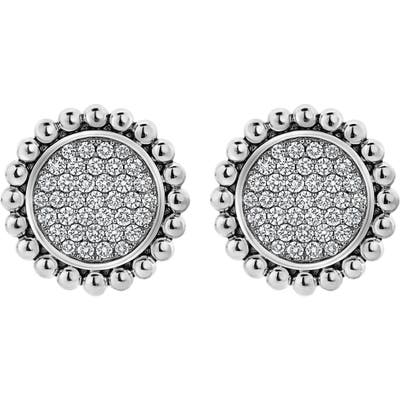 Lagos Caviar Spark Diamond Pave Large Stud Earrings
